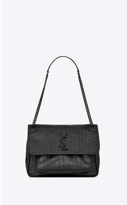 Saint Laurent Niki Medium In Soft Crocodile-Embossed Leather