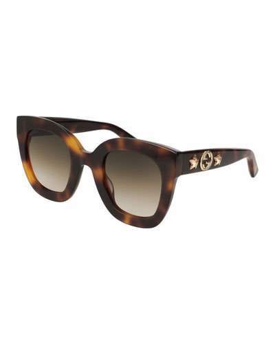 Gucci Rectangle Acetate GG Sunglasses w/ Crystal Stars, Brown Pattern