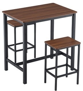 Zimtown Industrial Breakfast Dining Set 2-person Bar Table and Chair Set