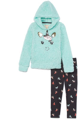 Colette Lilly Girls' Leggings COOL - Cool Mint Sequin Unicorn Sherpa Hoodie & Gray Unicorn Leggings - Toddler