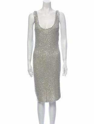 Donna Karan Cashmere Midi Length Dress Grey