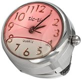 Viva Floating Pink Liquid White Face Finger Ring Watch with Expansion Stretch Stainless Steel Band One Size Fits Most