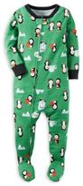 Carter's Size 18M Penguin Zip-Front Footed Pajama in Green