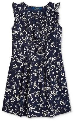 Ralph Lauren Girls' Pintucked Floral Print Dress - Little Kid