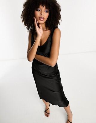 Asos Design DESIGN scoop neck midi satin slip dress in black