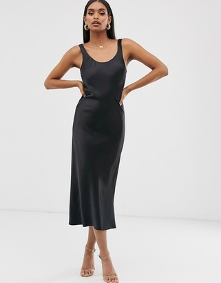 ASOS DESIGN scoop neck midi satin slip dress in black