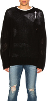 R 13 Ripped Oversized Cashmere Sweater in Black.