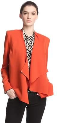Line & Dot Women's V-Neck Wrap Zip Blazer w/Zip Pocket