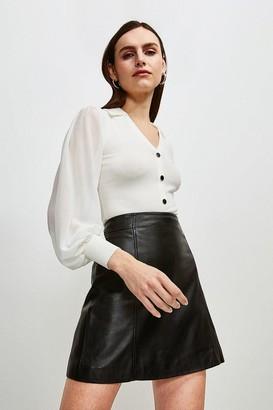 Karen Millen Fly Collar Georgette Sleeve Knitted Jumper