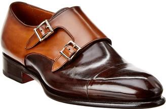 Santoni Leather Double Monk Strap