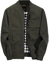 YOUJIA Men's Classic Autumn Military Jacket Zipper Parka Trench Coats (Army , XL)