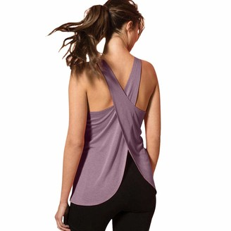 KPILP Women's Workout Tank Tops Yoga Shirt Muscle Tank Exercise Gym Yoga Tops Running Athletic Shirts Open Back Cross Sleeveless Activewear Fitness Workout Blouse Purple