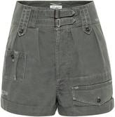 Saint Laurent High-rise cotton and ramie shorts