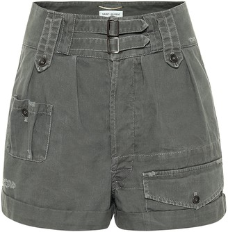 Saint Laurent High-rise cotton and ramie shorts
