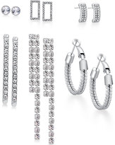GUESS Silver-Tone 6-Pc. Set Crystal Accented Earrings
