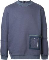 Oamc crew neck sweatshirt with back zip detail