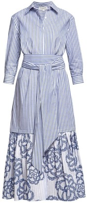 Santorini Belted Striped Shirt Dress With Embroidered Panel
