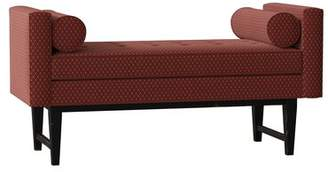 SAM. Moore Ludwig Upholstered Bench Moore Body Fabric: Tiffanys Scarlet, Throw Pillow Fabric: Tiffanys Scarlet, Leg Color: Aged Black
