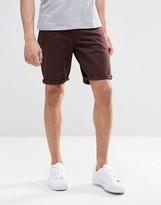 Asos Denim Shorts In Skinny Brown