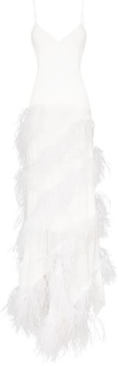 16Arlington Tiered Feather Detail Maxi Dress