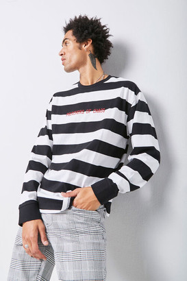 Forever 21 Embroidered Graphic Striped Tee