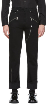 Neil Barrett Black Multi-Zip Skinny Jeans