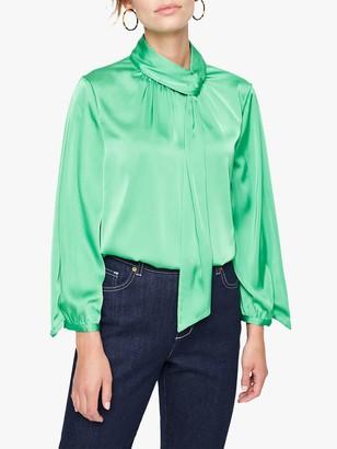 Damsel in a Dress Jenkin Tie Neck Blouse, Green