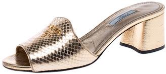 Prada Gold Embossed Snakeskin Leather Block Heel Slide Sandals Size 37.5