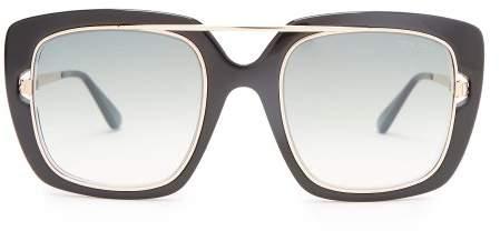 Tom Ford Eyewear - Square Frame Acetate Sunglasses - Womens - Black Gold