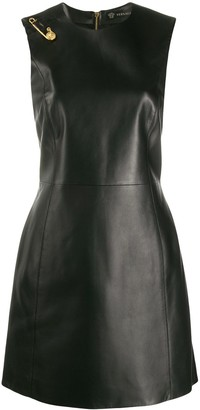 Versace Safety-Pin Sleeveless Leather Dress