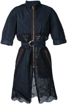 Kolor belted lace panel coat - women - Cotton - 2