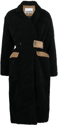 Ganni Shearling Fitted-Waist Double-Breasted Coat
