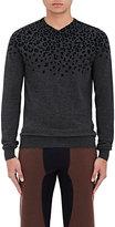 Kolor Men's Leopard-Flocked Wool Sweater-GREY, BLACK