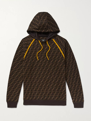 Fendi Logo-Print Fleece-Back Cotton-Jersey Hoodie