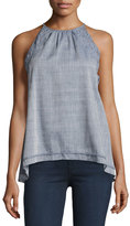 Max Studio Sleeveless Lace-Trim Cotton Blouse, Blue