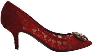 Dolce & Gabbana Taormina Red Lace Heels