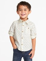 Old Navy Anchor-Print Roll-Up Built-In Flex Shirt for Toddler Boys