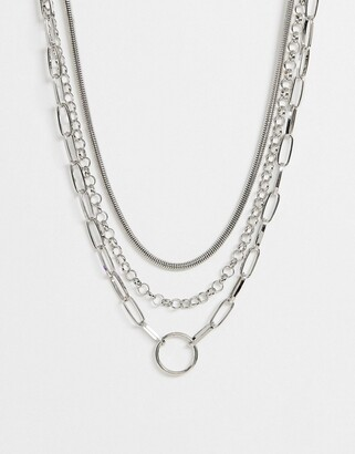 Asos Design DESIGN multirow necklace with snake and open link chain in silver tone