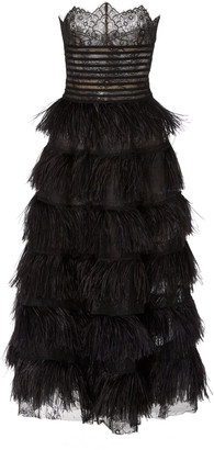 Oscar de la Renta Strapless Embroidered Lace Dress