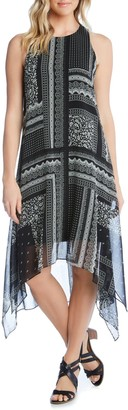 Karen Kane Printed Handkerchief Hem Dress