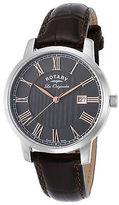 Rotary GS90075-04 Men's Les Originales Dark Genuine Leather Black Dial SS