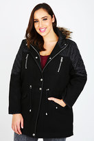 Yours Clothing Black Velour Parka Coat With Contrasting Quilted Panels