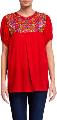 Raj Heaven Short-Sleeve Embroidered Peasant Top