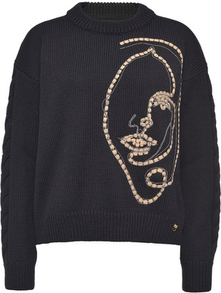 Pinko Embroidered Face Wool Jumper
