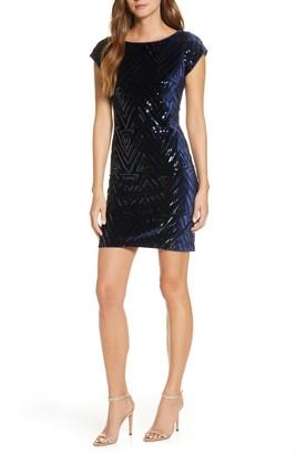 Eliza J Sequin Velvet Party Dress