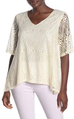 Forgotten Grace V-Neck Short Sleeve Crochet Lace Blouse