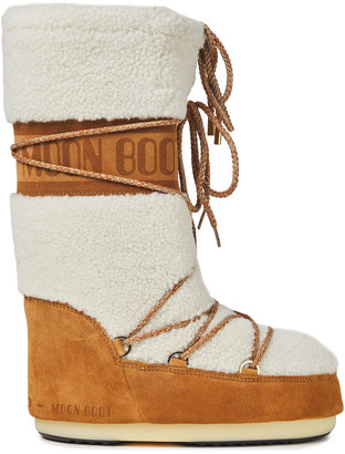 Moon Boot Lace-up Logo-print Shearling And Suede Snow Boots