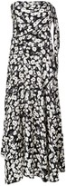 Derek Lam Strapless Knotted Poppy Print Silk Jacquard Handkerchief Dress