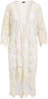 Lvs Collections LVS Collections Women's Kimono Cardigans IVORY - Ivory Sunflower Lace Kimono - Women