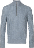 Loro Piana cable knit zipped neck jumper